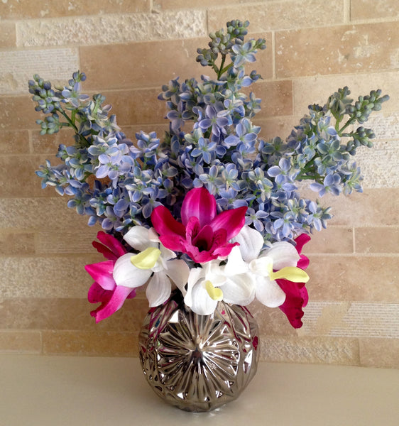 Lilac and Orchid Arrangement in Silver Starball Vase