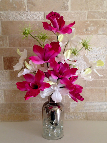 Dendrobium and Cymbidium Orchid Bouquet in Mercury-dipped Ombre Glass Vase