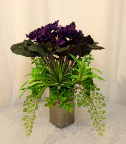 African Violet and Succulent Plants Bouquet in Shiny Ceramic Vase