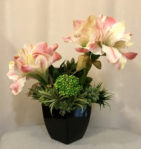 Amaryllis and Assorted Succulent Plants Arrangement in Black Ceramic Vase, Pink and Green Color, Office Home Indoor Decor Plant for Gift, Handcrafted at the Floral Mart