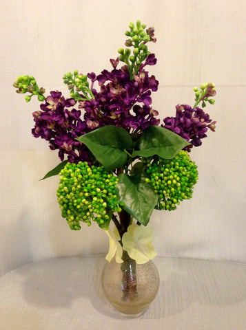 Purple Lilac and Green Sedum Bouquet in Copper Glass Vase, Office Home plant decor accent, Handcrafted at thefloralmart