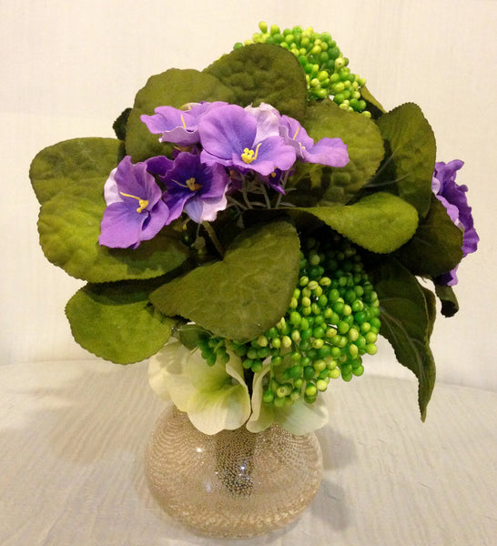 Purple African Violet and Sedum Plant Arrangement in Copper Glass Vase, Office Home Plant Decor Accent, Handcrafted at thefloralmart