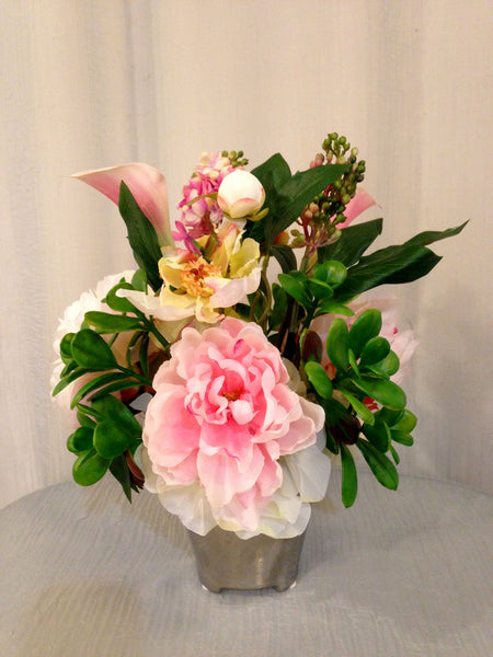 Peony, Lilac and Jade Plant Arrangement in Silver Mesh Ceramic Pot, Pink and White, Home Office Decor Plant, Handcrafted at thefloralmart
