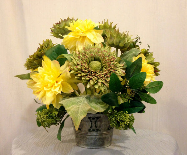 Artificial Dahlia and Italian Sunflower arrangement in Metal Pot, Yellow and Green, Home Office Decor Plant, Handcrafted at thefloralmart