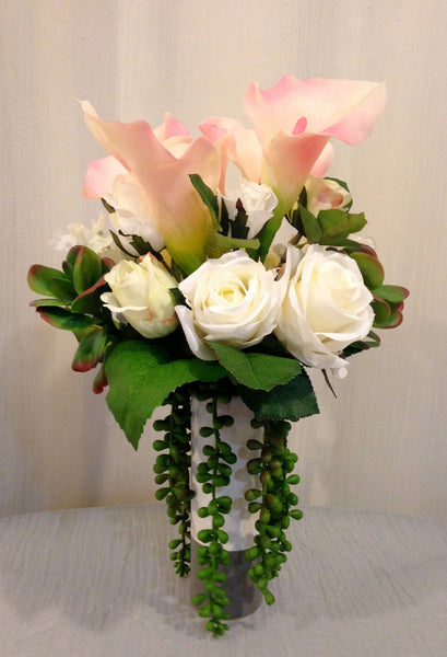 Calla Lily, Rose and Succulent Plant Arrangement in Ceramic Vase, Pink and White, Home Office Decor Plant, Handcrafted at thefloralmart