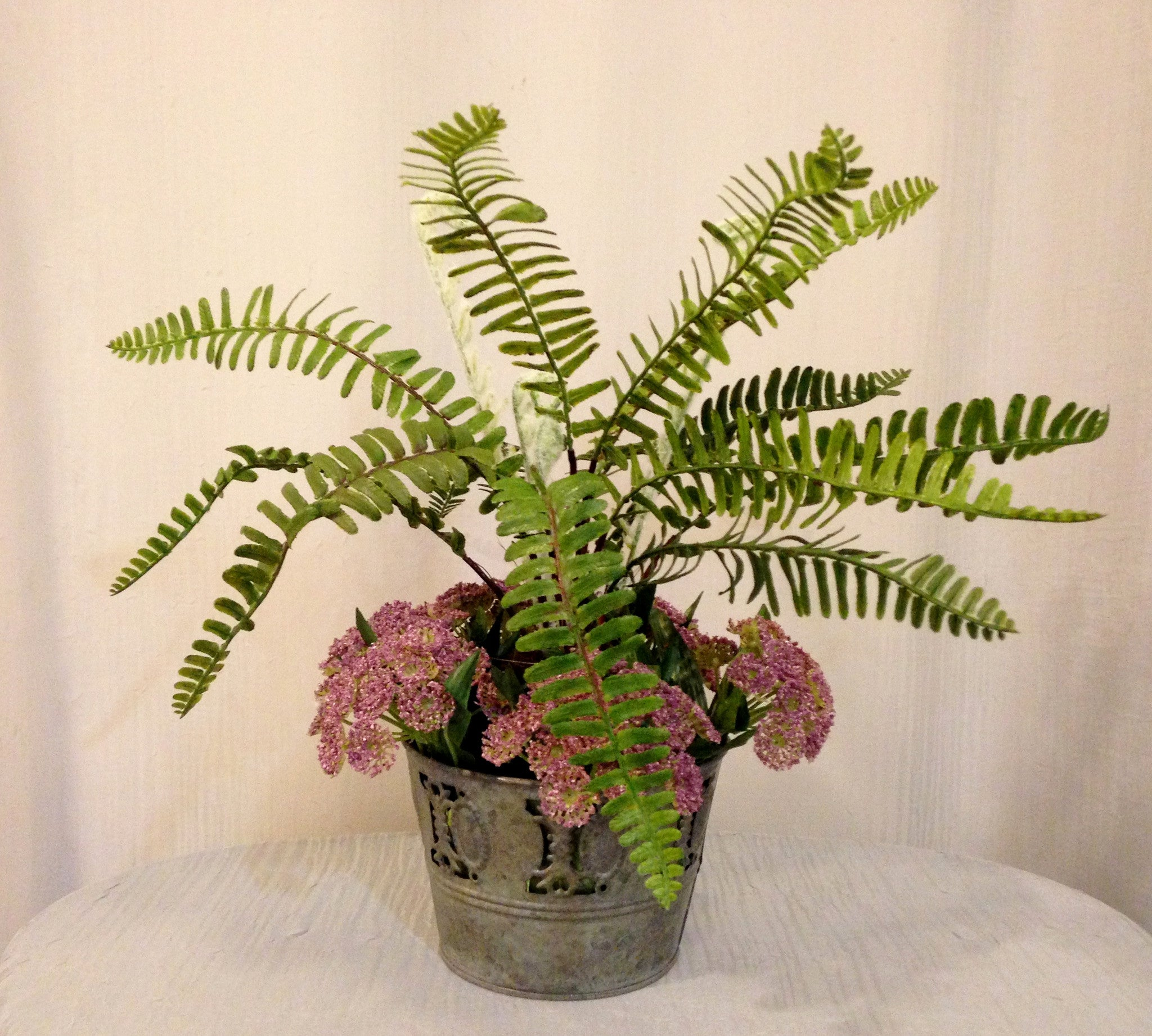 woodland fern and queen anne s lace in tin pot lavender and green office home woodland fern and queen anne s lace in tin pot lavender and green