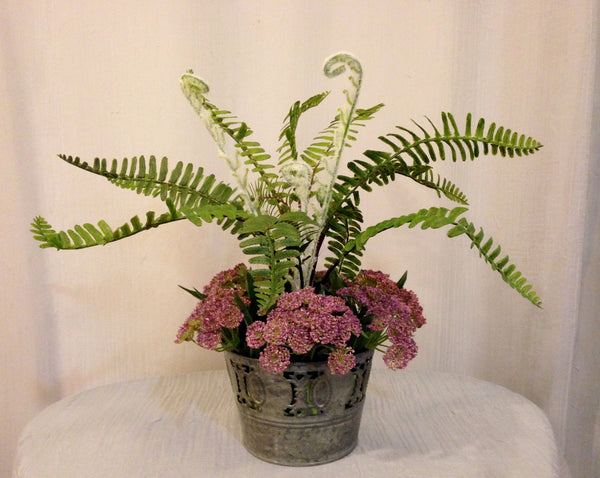 Woodland Fern and Queen Anne's Lace in Tin Pot, Lavender and Green, Office Home Decor Plant, Handcrafted at thefloralmart