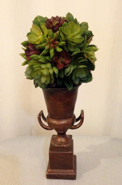 Assorted Succulent Ball in Bronze Urn, Green and Burgundy, Home Office Decor Plant, Handcrafted at the Floral Mart