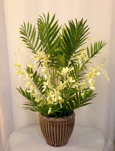 Silk Dendrobium Orchid and Mini Palm Plant Centerpiece in Ceramic Container, Cream and Green, Office Home Decor Plant, Handcrafted at the Floral Mart