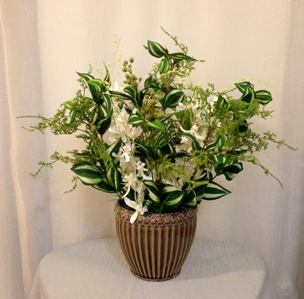 Dendrobium Orchid and Silk Plant Arrangement in Ceramic Container, Cream and Green, Office Home Decor Plant, Handcrafted at the Floral Mart