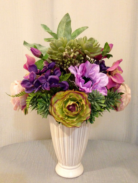 Rose, Anemone, Ranunculus and Succulent Plant Arrangement in Ceramic Cream Vase, Purple and Green, Office Home Decor Plant, Handcrafted at the Floral Mart