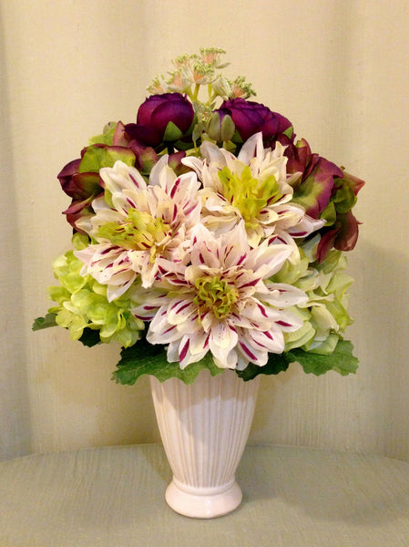 Dahlia, Peony,Ranunculus and Hydrangea Arrangement in Cream Ceramic Vase, Burgundy and Green, Office Home Decor Centerpiece, Handcrafted in the Floral Mart