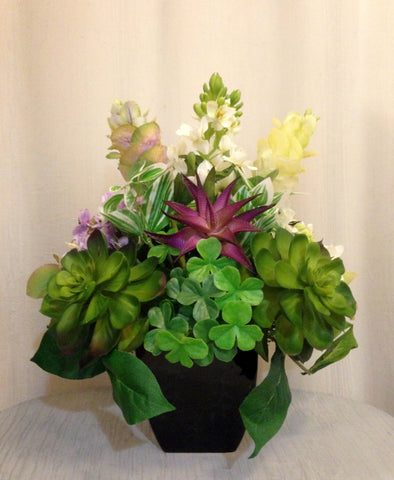 Artificial Flower and Succulent Plant Arrangement in Black Ceramic Vase, Purple and Green, Office Home Decor Plant, Handcrafted at the Floral Mart