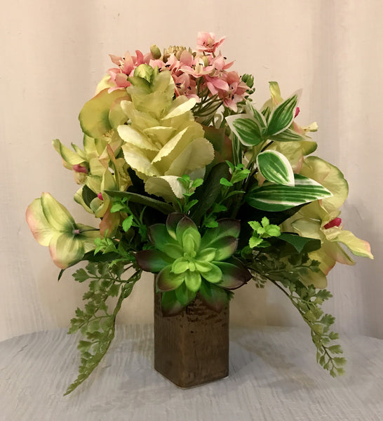 Artificial Succulent Plant, Phalaenopsis Orchid and Star of Bethlehem Arrangement in Ceramic Shinny Vase, Pink and Green, Office Home Decor Plant, Handcrafted at the Floral Mart