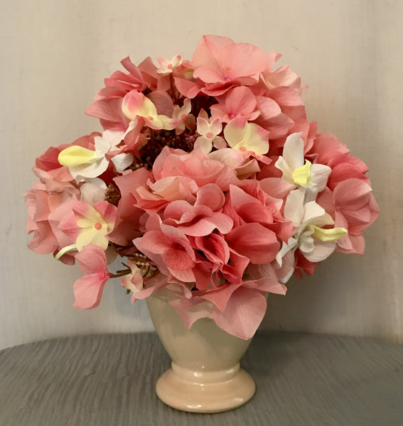 Hydrangea Bouquet in Ceramic Vase, Pink and White, Home Office Decoration Plant, Handcrafted at thefloralmart