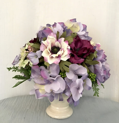 Anemone, Hydrangea and Berry Arrangement in Ceramic Vase, Lavender and Orchid, Home Office indoor Decor Centerpiece, Handcrafted at thefloralmart