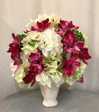 Cymbidium Orchid, Hydrangea and Sedum Plant Arrangement in Cream Ceramic Vase, Orchid and White Color, Office Home Indoor Decor Centerpiece for Gift, Handcrafted at the Floral Mart