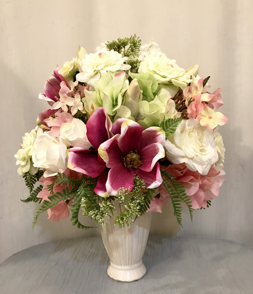 Rose, Hydrangea and Woodland Arrangement in Cream Ceramic Vase, Orchid and White Color, Home Office Indoor Decor Centerpiece for Gift, Handcrafted at The Floral Mart