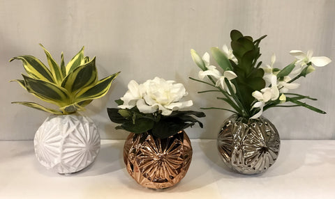 Gardenia Bouquet, Agave and Snowdrop in Starball Ceramic Vase, Set of 3 - Silver, White and Gold, Home Office Indoor Decor Flower for Gift, Handcrafted at The Floral Mart
