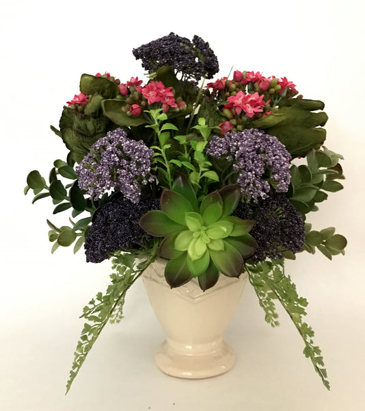 Artificial Kalanchoe, Queen Anne's Lace and Succulent Plant Arrangement in Ceramic Vase, Rose and Purple Color, Office Home Indoor Decor Plant, Handcrafted at the Floral Mart