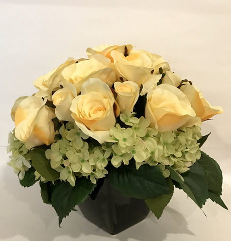 Silk Rose and Hydrangea Arrangement in Ceramic Vase, Yellow and Green Theme Color Centerpiece, Office Home Indoor Decor Flower, Handcrafted at The Floral Mart