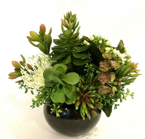 Artificial Jade Plant, Echeveria, Sedum, Kalanchoe, Needle Protea and Assorted Succulent, Green and White, Indoor Decor Plant, Handcrafted at thefloralmart