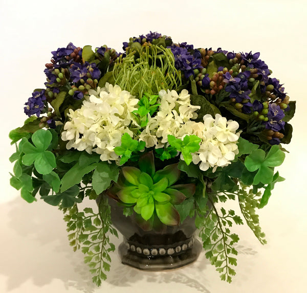 Artificial Kalanchoe, Snowball, Needle Protea and Succulent Arrangement in Ceramic Bowl, Purple and White, Indoor Decor Centerpiece, Handcrafted at thefloralmart
