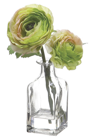 Green Ranunculus Bouquet in Bottle Glass Vase ( Quantity of 3 )