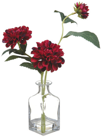 Wine Dahlia Spray in Bottle Glass Vase ( Quantity of 3 )
