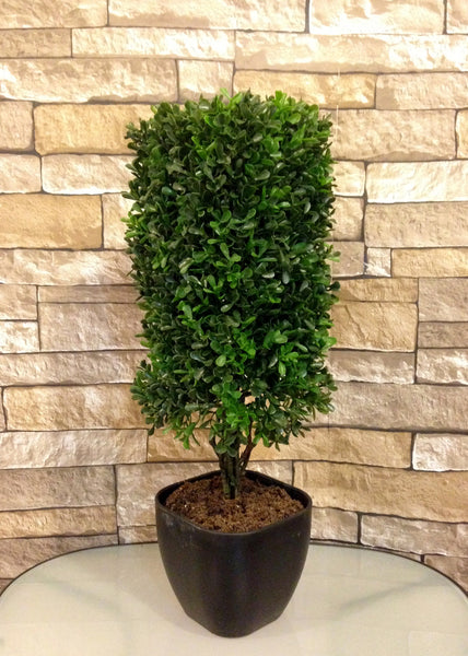 "19"" Boxwood Square Column Topiary in Plastic Pot, Green Color, Office Home Decor Plant"