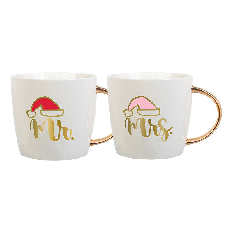Mr. and Mrs. Santa Hat Christmas Mug Set
