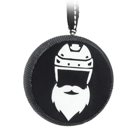 Santa Hockey Player Puck Ornament