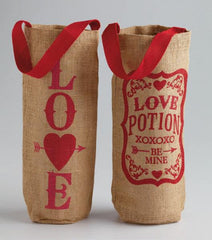 Valentine Printed Burlap Bottle Bags - Time Your Gift - 1