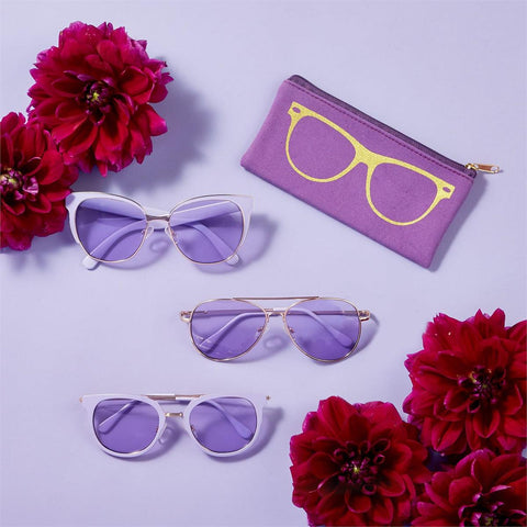 Lilac Rose Gold Sunglasses with Pouch (3 styles available)