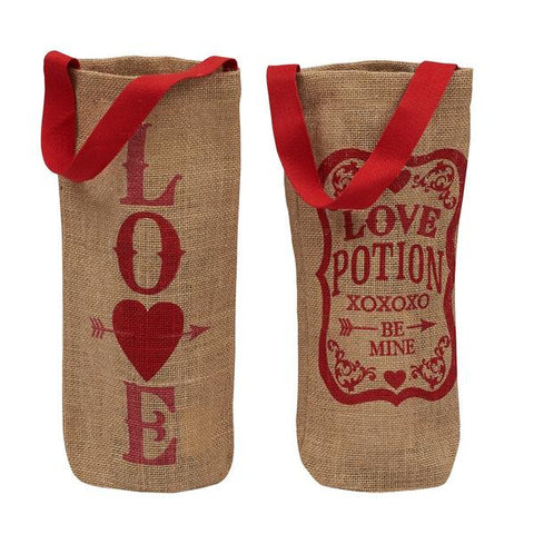 Valentine Printed Burlap Bottle Bags - Time Your Gift - 2