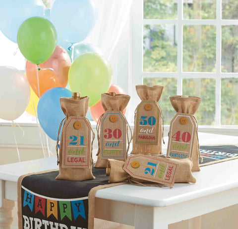 Age Birthday Wine Bags