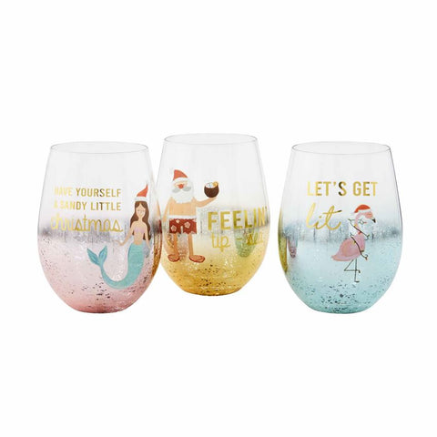 Sea Christmas Stemless Wine Glasses (each sold separately)