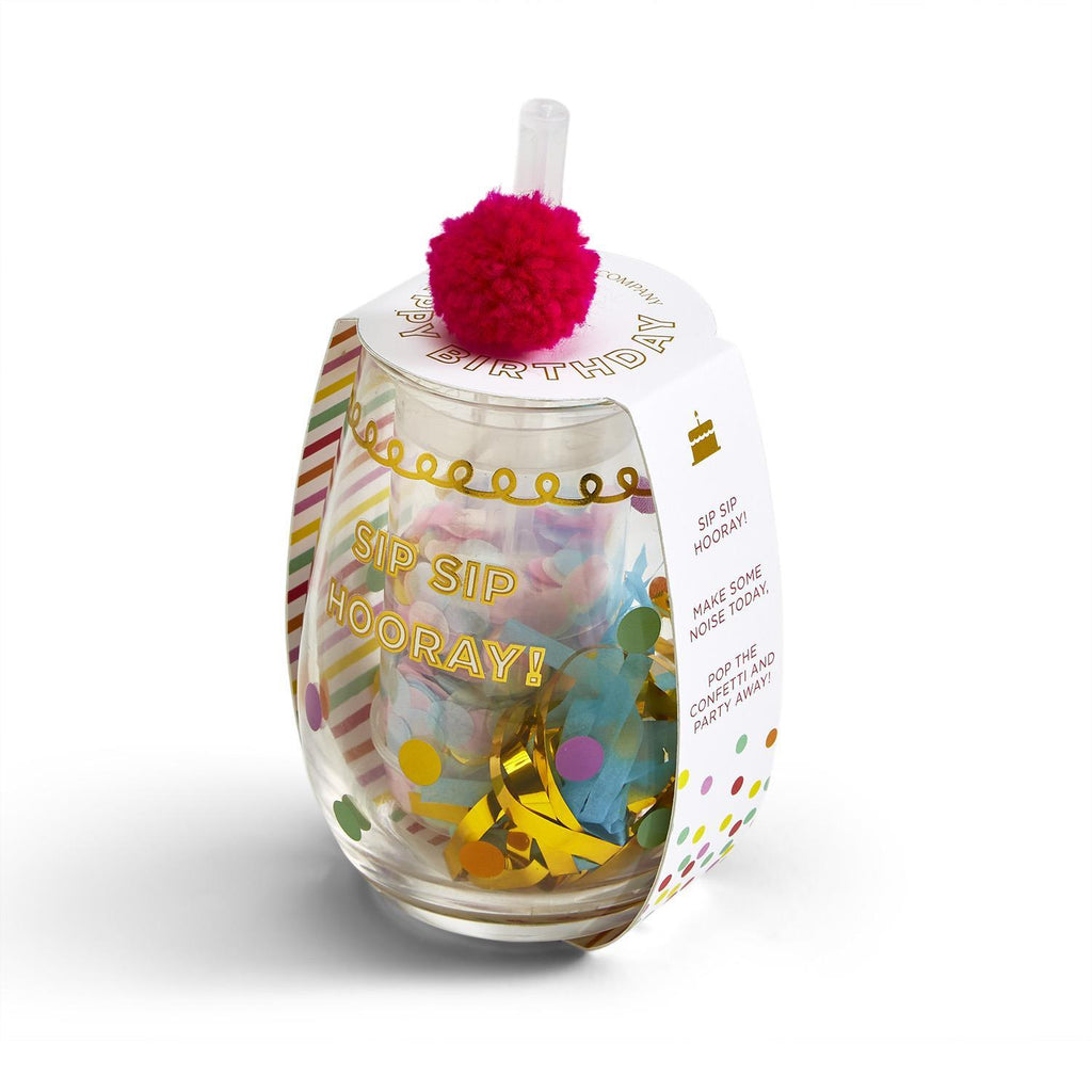 Sip Sip Hooray! Happy Birthday Stemless Glass with Confetti Popper AND Noise Maker