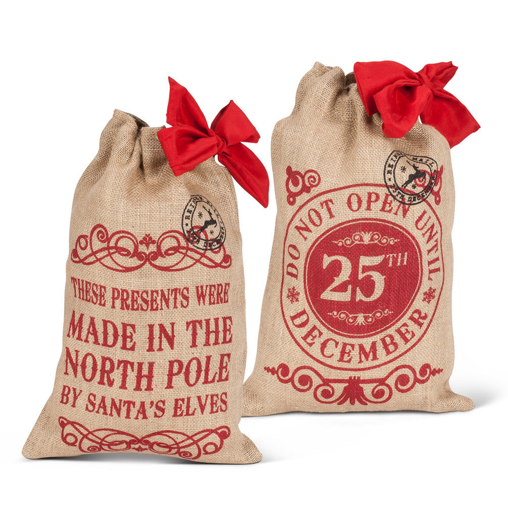 Medium Christmas Burlap Bags - Time Your Gift - 3