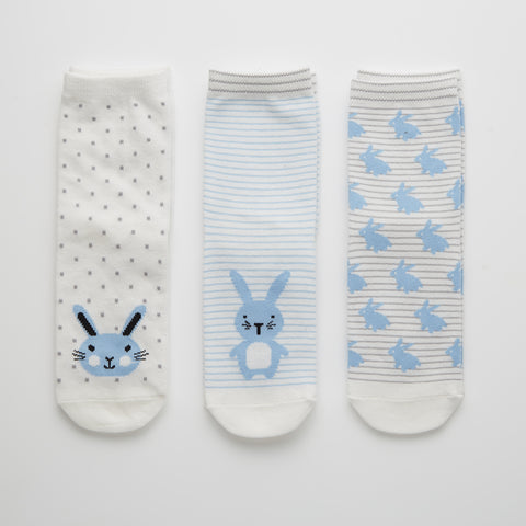Set of 3 Bunny Socks in Gift Box (2 Colors Available)