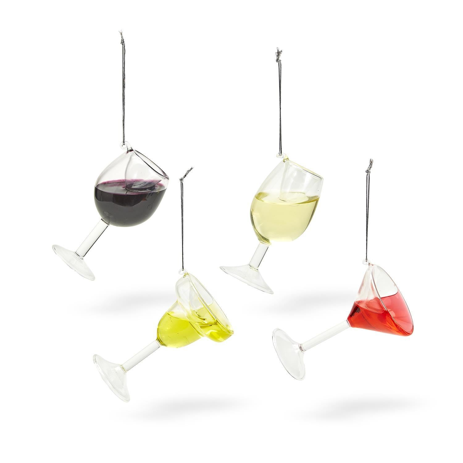 Happy Hour Wine Glass Ornaments (4 assorted styles)
