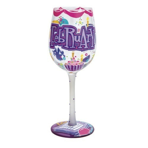 Lolita Months of the Year Wine Glasses February