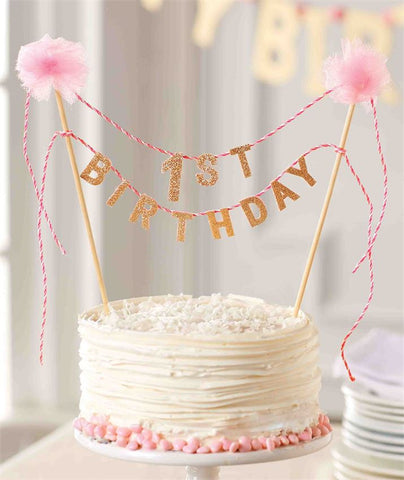 Birthday Cake Topper - Pink - 1st Birthday - Time Your Gift