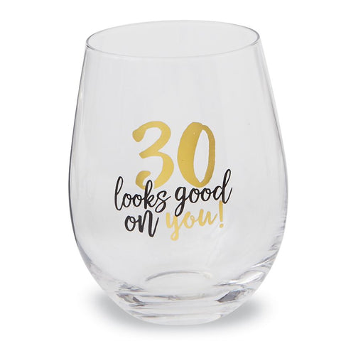 Milestone Birthday Stemless Wine Glasses
