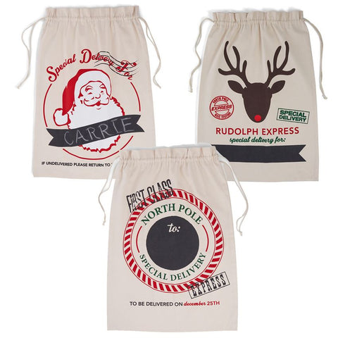 Canvas Christmas Gift Sacks - Time Your Gift - 2