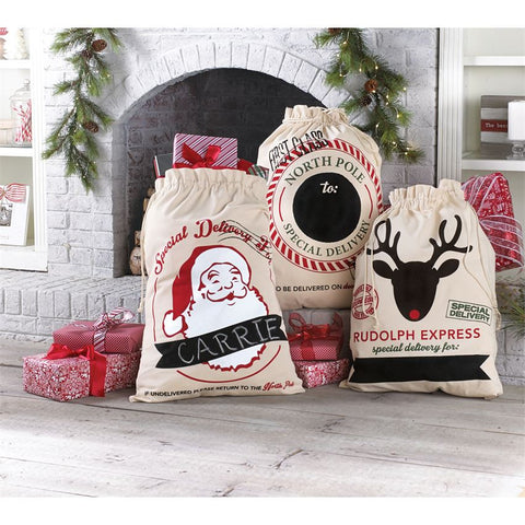 Canvas Christmas Gift Sacks - Time Your Gift - 1