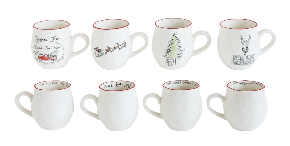 Christmas Stoneware Mugs with Sayings