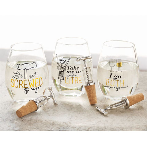 Corkscrew Wine Glass Set from Mud Pie