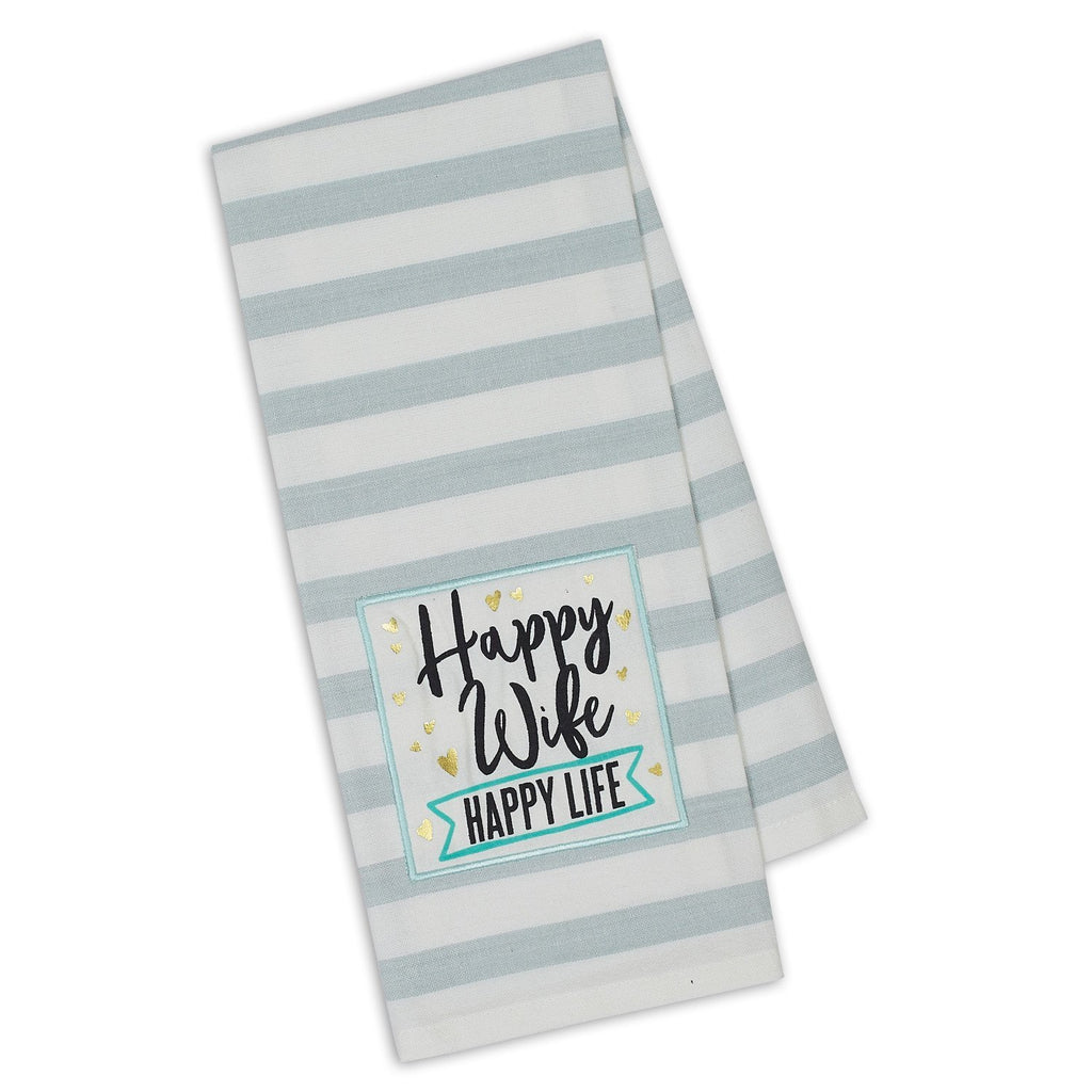 Happy Wife Happy Life Dishtowel