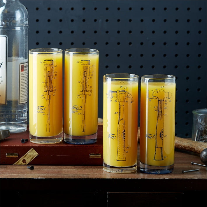 Tool Blueprint Highball Glasses - Set of 2